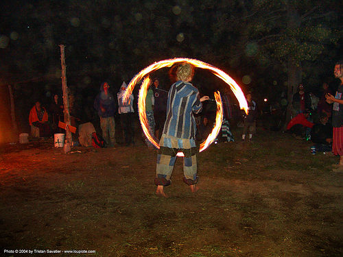 fire-dancer - rainbow gathering - hippie, fire dancer, fire dancing, fire performer, fire poi, fire spinning, flames, hippie, long exposure, night, people, rainbow family, rainbow gathering, spinning fire