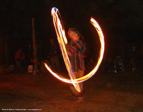 fire-dancer - rainbow gathering - hippie, fire dancer, fire dancing, fire performer, fire poi, fire spinning, flames, hippie, long exposure, night, rainbow family, rainbow gathering, spinning fire