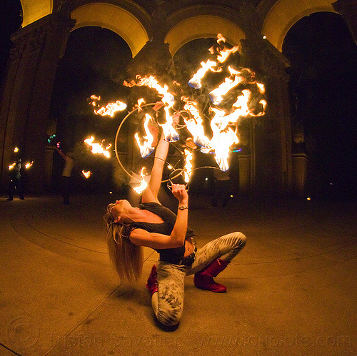fire dancer with fire fans - bending backward, arches, bending backward, cressie mae, fire dancer, fire dancing, fire fans, fire performer, fire spinning, night, vaults, woman