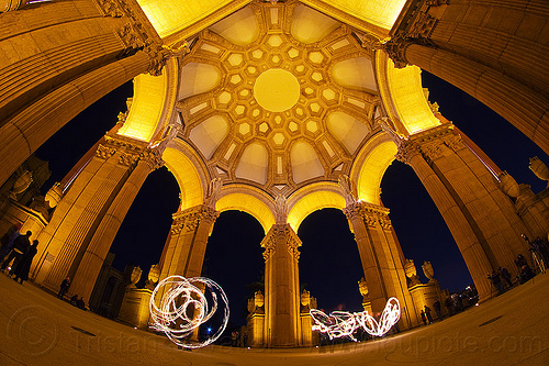 fire dancers at the palace of fine arts, arches, dome, fire dancing, fire performers, fire spinning, flames, long exposure, night, people, vaults