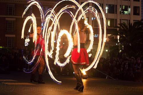 fire dancing expo (san francisco), fire dancer, fire hoops, fire hula hoops, fire performer, fire spinning, flames, long exposure, night, people, spinning fire, temple of poi