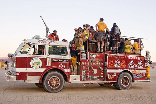 fire engine - sparky, burning man, fire engine, fire truck, firefighters