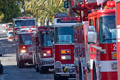 fire engines procession, fire department, fire engines, fire trucks, procession, sffd, street