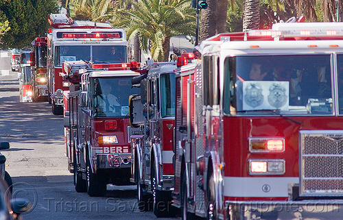 fire engines procession, fire department, fire engines, fire trucks, sffd