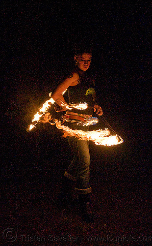 fire fans (san francisco) - fire dancer - leah, fire dancing, fire performer, fire spinning, flames, long exposure, night, people, spinning fire, tattooed, tattoos, woman