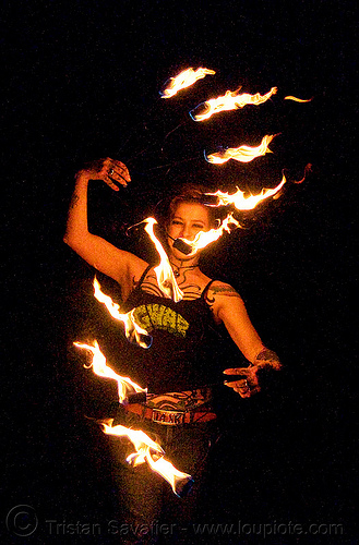 fire fans (san francisco) - fire dancer - leah, fire dancer, fire dancing, fire fans, fire performer, fire spinning, flames, leah, night, people, spinning fire, tattooed, tattoos, woman