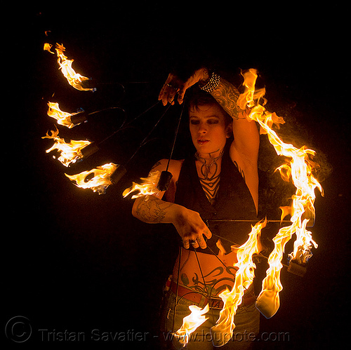 fire fans (san francisco) - fire dancer - leah, fire dancing, fire performer, fire spinning, flames, night, spinning fire, tattooed, tattoos, woman