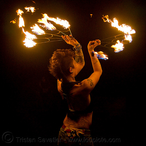 fire fans (san francisco) - fire dancer - leah, fire dancer, fire dancing, fire fans, fire performer, fire spinning, leah, night, spinning fire, tattooed, tattoos, woman