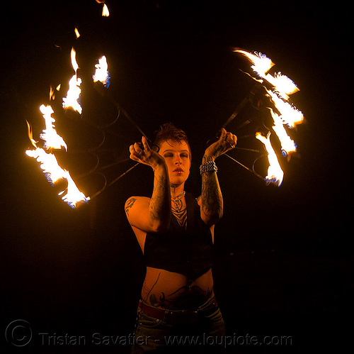 fire fans (san francisco) - fire dancer - leah, backlight, fire dancing, fire performer, fire spinning, flame, night, people, spinning fire, tattooed, tattoos, woman