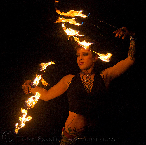 fire fans (san francisco) - fire dancer - leah, backlight, fire dancer, fire dancing, fire fans, fire performer, fire spinning, leah, night, spinning fire, tattooed, tattoos, woman