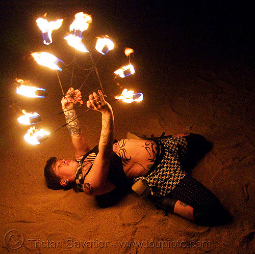 fire fans (san francisco) - fire dancer - leah, bending backward, fire dancer, fire dancing, fire fans, fire performer, fire spinning, leah, night, spinning fire, tattooed, tattoos, woman