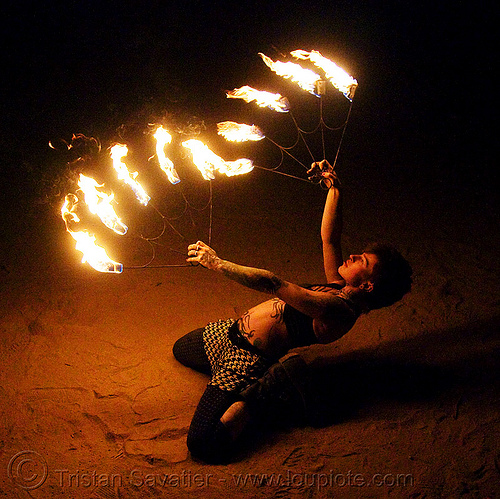 fire fans (san francisco) - fire dancer - leah, bending backward, desert, desert party, fire dancing, fire performer, fire spinning, flames, night, people, psy trance, rave party, spinning fire, tattooed, tattoos, woman