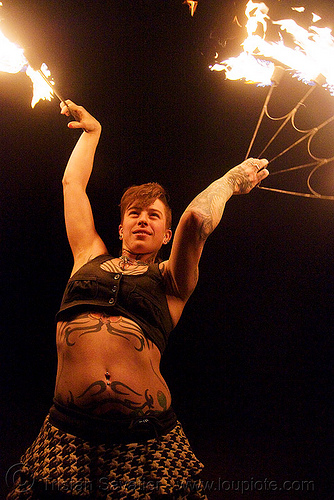 fire fans (san francisco) - fire dancer - leah, desert party, fire dancer, fire dancing, fire fans, fire performer, fire spinning, flames, leah, night, psy trance, rave party, spinning fire, tattooed, tattoos, woman