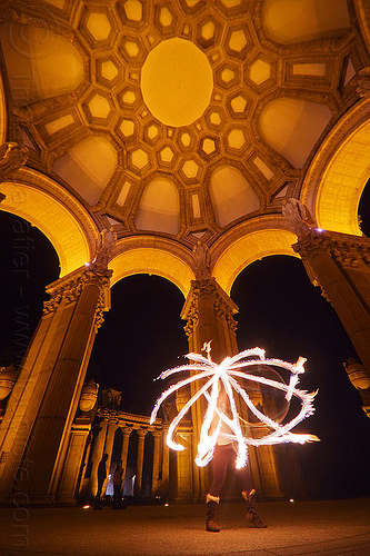 fire hoop at the palace of fine arts, arches, columns, dome, fire dancer, fire dancing, fire hoop, fire performer, fire spinning, flames, hulahoop, long exposure, mel, night, vaults, woman
