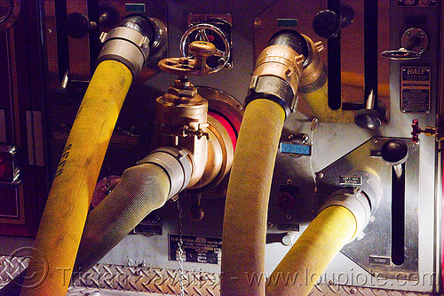 fire hoses hooked to firetruck (san francisco), fire department, fire engine pump, fire fighting, fire hoses, fire truck, night, sffd, valves, water pump