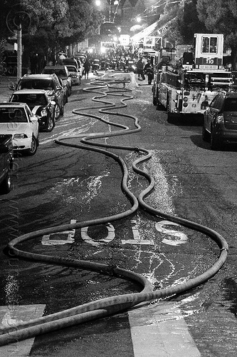 fire hoses on street, fire department, fire engine, fire fighting, fire hoses, fire truck, night, sffd, water