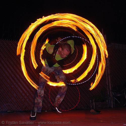 fire hulahoop - LSD fuego, fire dancer, fire dancing, fire hula hoop, fire performer, fire poi, fire spinning, hula hooping, night, spinning fire