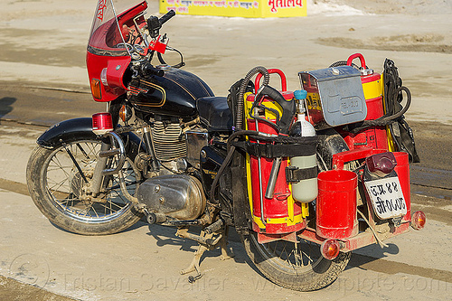 fire motorcycle - firefighting (india), 350cc, fire bullet, fire department, fire engine, fire extinguishers, fire motorbike, fire motorcycle, firefighters, hindu pilgrimage, hinduism, india, maha kumbh mela, red, royal enfield bullet