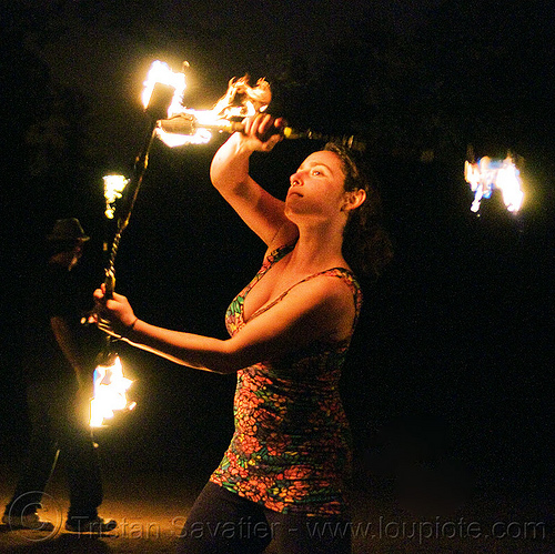 fire nunchaku - sarah, fire dancer, fire dancing, fire nunchaku, fire performer, fire spinning, flames, night, sarah, woman