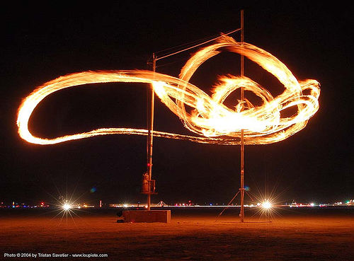 fire pendulum - burning man 2004, art installation, burning man, chaotick, fire pendulum, larry breed, night