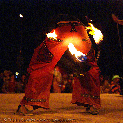 fire performer on the shiva vista stage - burning man 2007, fire poi, flames, night, shiva vista stage