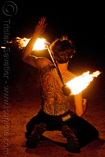 fire performer spinning fire staff - back tattoo  (san francisco), back piece, fire dancer, fire dancing, fire performer, fire spinning, fire staff, man, night, spinning fire, tattooed, tattoos, vin deluca
