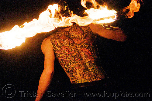 fire performer spinning fire staff - back tattoo (san francisco), back piece, fire dancer, fire dancing, fire performer, fire spinning, fire staff, flames, man, night, spinning fire, tattooed, tattoos, vin deluca