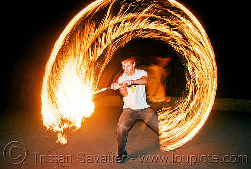 fire performer spinning fire sword (san francisco), fire dancer, fire dancing, fire performer, fire spinning, fire sword, flames, long exposure, night, spinning fire