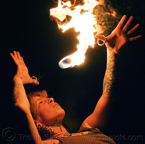 fire doohickey, fire dancer, fire dancing, fire performer, fire spinning, flames, handa, night, tattooed, tattoos, woman