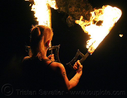fire performer with fire swords, fire dancer, fire dancing, fire performer, fire spinning, fire swords, leah, night, tattooed, tattoos, woman