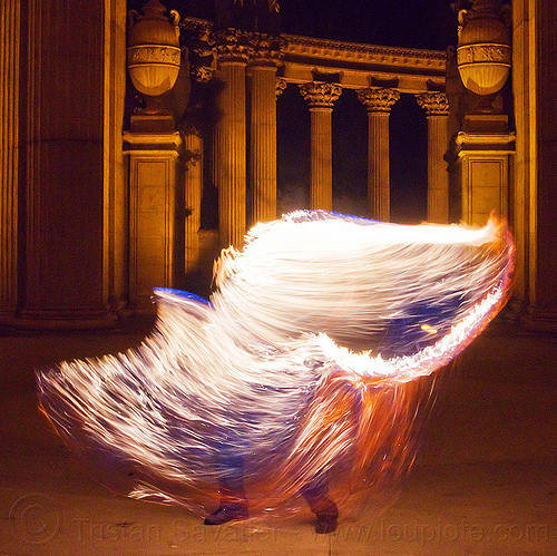 fire performer with fire whip, cary, columns, fire dancer, fire dancing, fire performer, fire spinning, fire whip, man, night, palace of fine arts