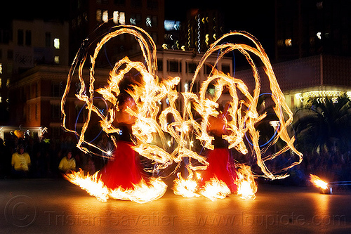 fire performers - fire dancing expo (san francisco), fire dancer, fire dress, fire hoop dress, fire hoops, fire hula hoops, fire performer, fire spinning, flames, long exposure, night, people, spinning fire, temple of poi