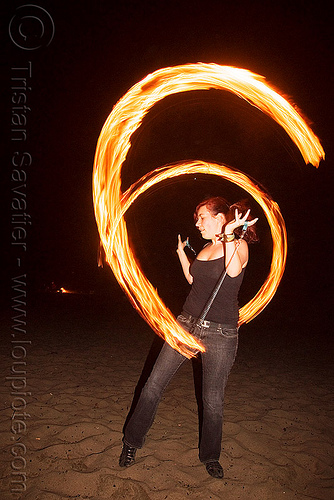 fire poi - fire performer bree - breeana (san francisco), bree, breeana, fire dancer, fire dancing, fire fans, fire performer, fire spinning, flames, night, ocean beach, woman