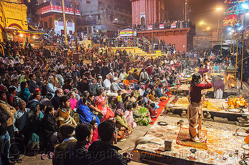 fire puja ceremony - main ghat - varanasi (india), ceremony, crowd, dashashwamedh ghat, fire puja, ghats, hindu, hinduism, main ghat, night, show, sitting, varanasi