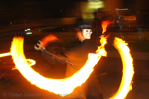 fire spinner with skull mask (san francisco), fire dancer, fire dancing, fire performer, fire poi, fire spinning, flames, long exposure, march of light, night, pyronauts, spinning fire