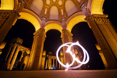 fire spinning at the palace of fine arts, columns, dome, fire dancer, fire dancing, fire performer, flames, night, people