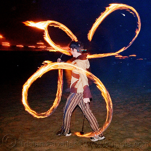 fire spinning on ocean beach - fire poi, fire dancer, fire dancing, fire performer, flames, long exposure, man, night, people, scott, spinning fire