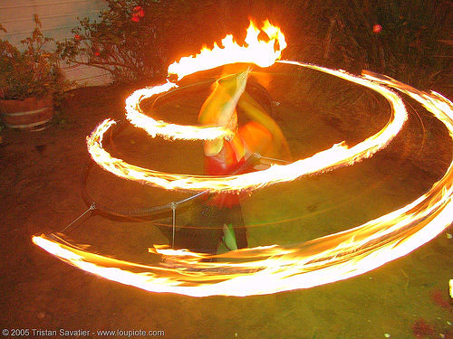 fire spiral - fire performer spinning fire (san francisco), eden, fire dancer, fire dancing, fire hula hoop, fire performer, fire spinning, hula hooping, night, spinning fire, spiral