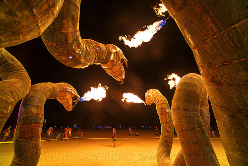 fire spitting snakes - medusa madness - burning man 2016, art installation, burning man, fire, flames, medusa madness, night, sculpture, snakes