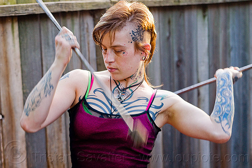 fire staves practice, fire staffs, fire staves, leah, tattooed, tattoos, woman
