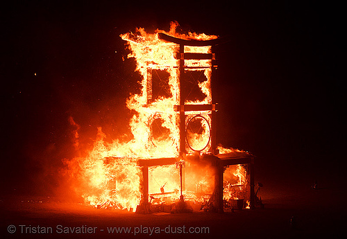 fire - temple of forgiveness - burning man 2007, burn, flames, night, temple burning