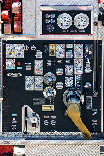 fire truck control panel, control panel, fire department, fire engine, fire truck, pressure gauges, sffd, valves