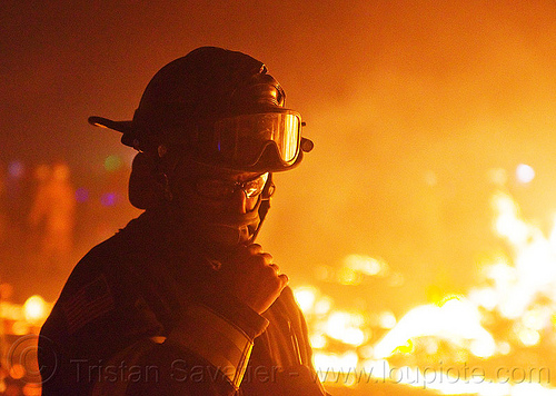 firefighter - burning man 2013, burning man, fire, firefighter, flames, goggles, helmet, night