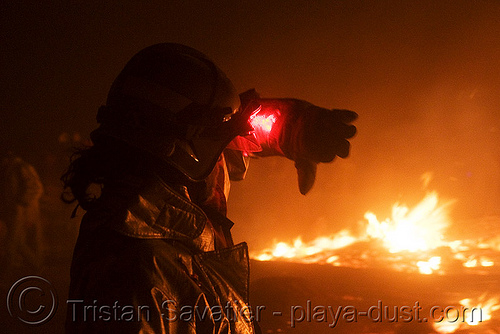 firefighter watches over the embers of the man - burning man 2008, burning man, fire, firefighter, night, temple burning
