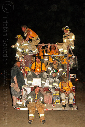 firefighters on fire engine, burning man, fire engine, fire truck, firefighters, lorry, men, night, sparky