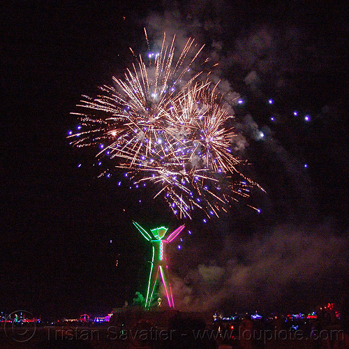 fireworks above the man - burning man 2015, fireworks, night of the burn, pyrotechnics, the man