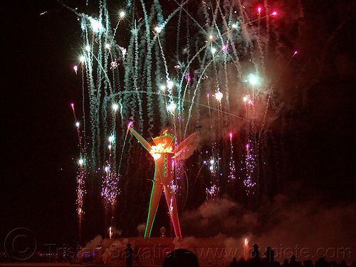 fireworks show as the man starts burning - burning man 2015, burning, fire, fireworks, flames, night of the burn, pyrotechnics, the man