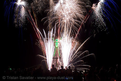 fireworks show before the man is burned - burning man 2007, burning man, fire, fireworks, night of the burn, pyrotechnics, the man