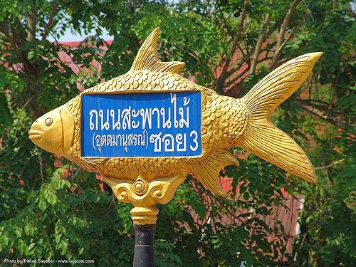 ปลา - fish shaped street sign - สังขละบุรี - sangklaburi  (thailand), fish shaped, golden color, sangklaburi, street sign, ประเทศไทย, ปลา, สังขละบุรี