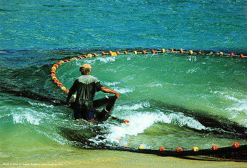fisherman with fishing net near the beach, beach, fisherman, fishing net, man, ocean, sea, seashore, shore, tobago